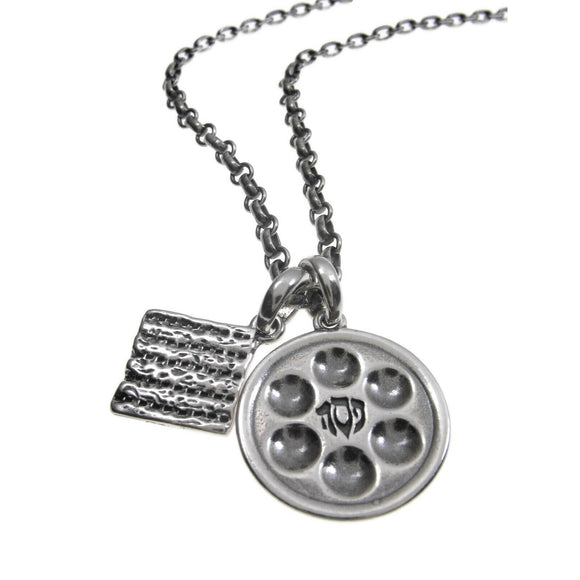 Passover Seder Plate Matzo Pendant Necklace Silver on Antique Rolo Chain
