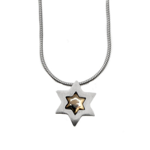 Clean Contemporary Star of David Embeded Pendant Necklace Silver 14K gold Snake Chain 1mm