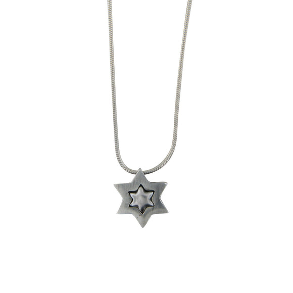 Clean Contemporary Star of David Embeded Pendant Necklace Silver Snake Chain 1mm