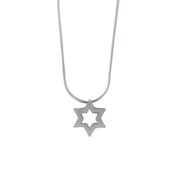 Clean Contemporary Star of David Cutout Pendant Necklace Silver Snake Chain 1mm
