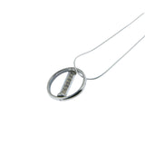 Circle Mezuzah Pendant Necklace Silver Shema scroll on Snake Chain 1mm