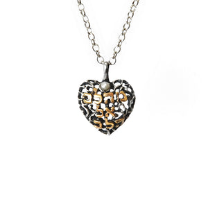 """From Heart to Heart"" Pendant Necklace Silver Garnet Rolo Chain"