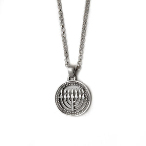 Menorah Round Frame Pendant Necklace Silver Rolo Chain