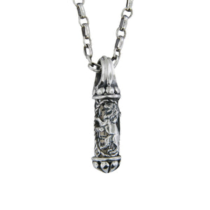 Lion Of Judah Mezuzah Pendant Necklace Silver Rolo Chain Shema scroll on Antique Rolo Chain
