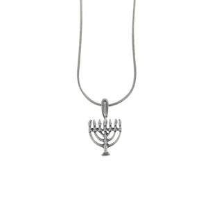Menorah Pendant Necklace Silver Rolo Chain