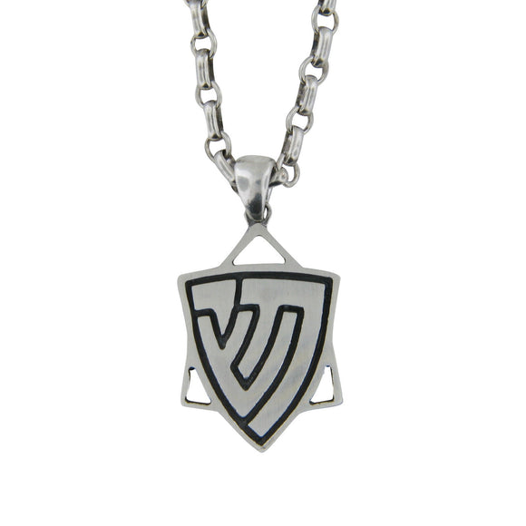 Star of David Men's Pendant Necklace Silver Chai and Shin on Antique Rolo Chain Bar-Mitzvah Boys, Teens
