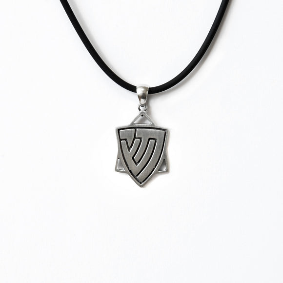 Star of David Men's Pendant Necklace Silver Chai and Shin Leather Cord on Leather Cord Bar-Mitzvah Boys, Teens