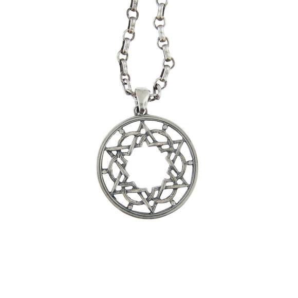 Star of David Architectural Pendant Necklace Silver on Antique Rolo Chain