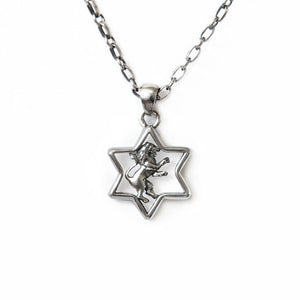 Star of David Lion of Judah Pendant Necklace Silver Antique Rolo Chain Bar-Mitzvah Boys, Teens