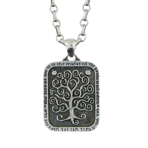 Tree of Life Gustav Klimt Rectangle Pendant Necklace Silver Antique Rolo Chain