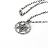 Star of David Priestly Blessing Birkat Ha Kohanim Pendant Necklace Silver on Antique Rolo Chain Bar-Mitzvah Boys, Teens