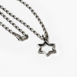 Open Modern Star of David Pendant Necklace Silver Antique Rolo Chain Bar-Mitzvah Boys, Teens