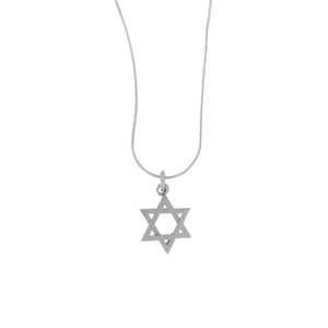 Star of David Pendant Necklace Silver on Snake Chain 1mm