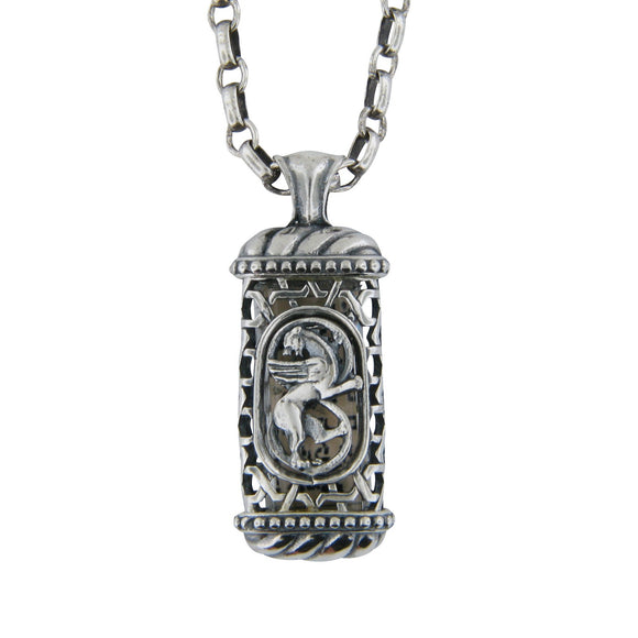 Winged Lion of Judah Mezuzah Pendant Necklace Silver Shema scroll on Antique Rolo Chain