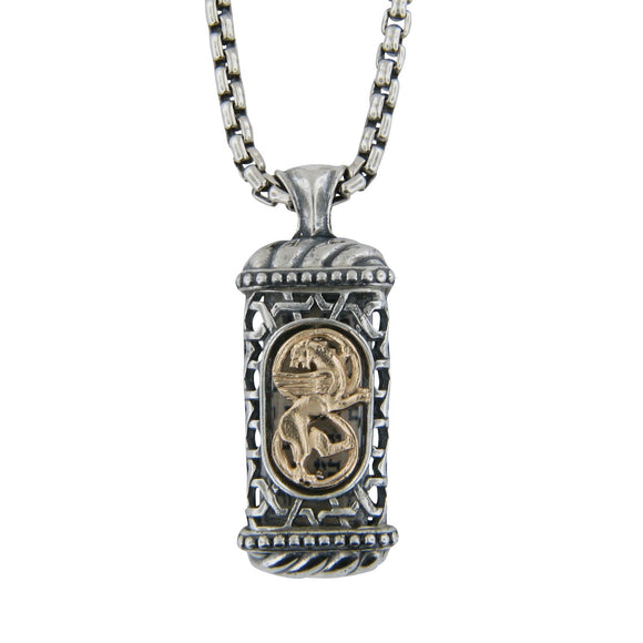 Winged Lion of Judah Mezuzah Pendant Necklace Silver 14K gold Shema scroll on Rounded Box Chan