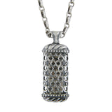 Mezuzah Shin Pendant Necklace Silver Shema scroll on Antique Rolo Chain