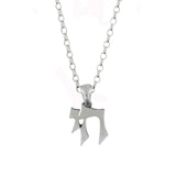 Medium Gothic Style Chai Pendant Necklace Silver Rolo Chain
