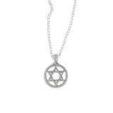 Star of David Pendant Necklace Silver Rolo Chain