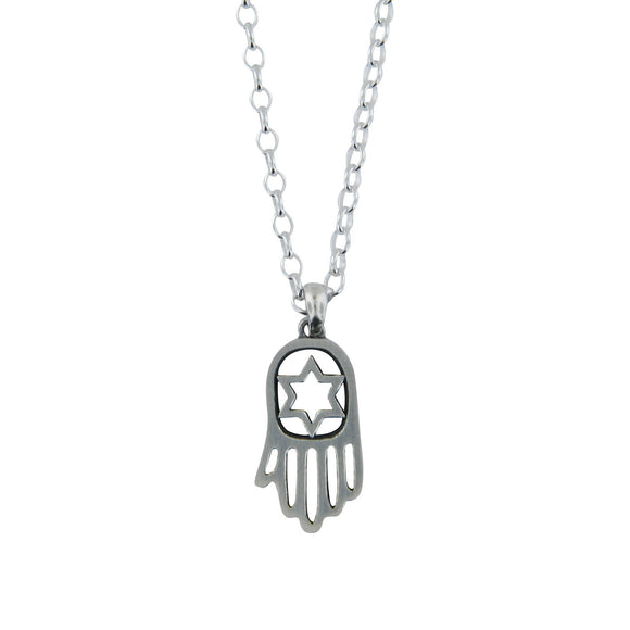 Hamsa Pendant Necklace Silver Rolo Chain