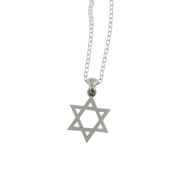 Star of David Pendant Necklace Silver on Delicate Cable Chain