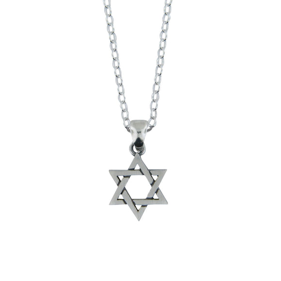 Star of David Pendant Necklace Silver on Rolo Chain