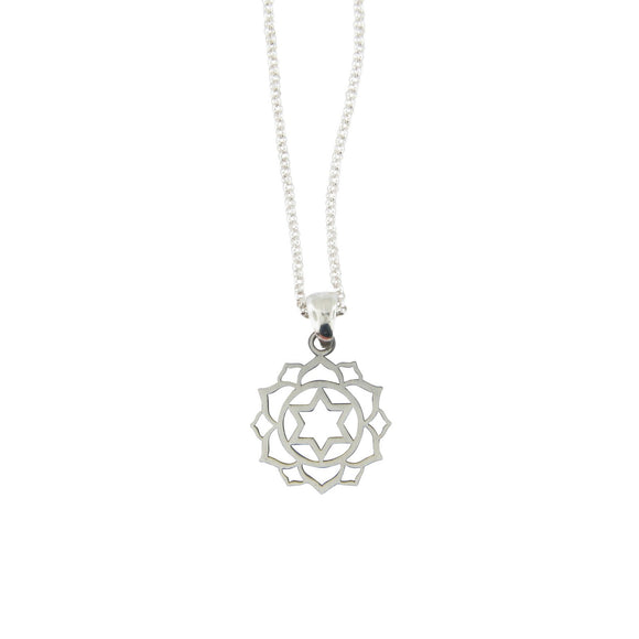 Small Frameless Lotus Star of David Pendant Necklace Silver on Rolo Chain