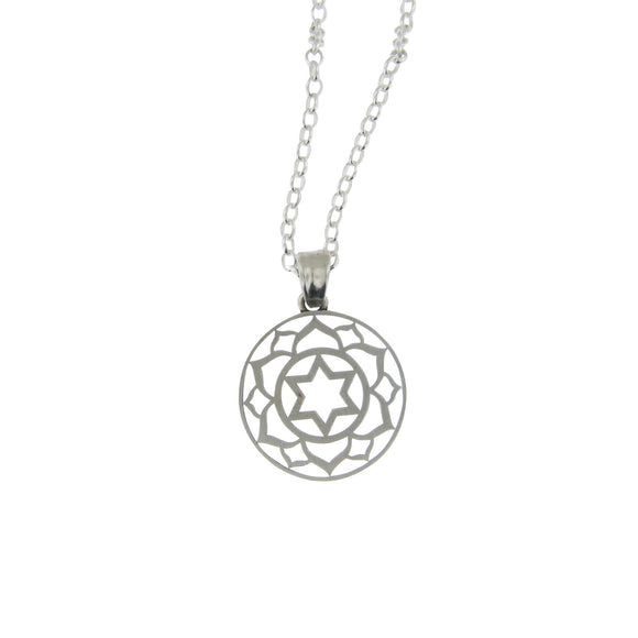 Medium Round Frame Lotus Star of David Pendant Necklace Silver on Rolo Chain