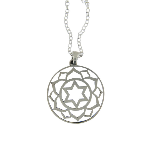Large Round Frame Lotus Star of David Pendant Necklace Silver on Rolo Chain