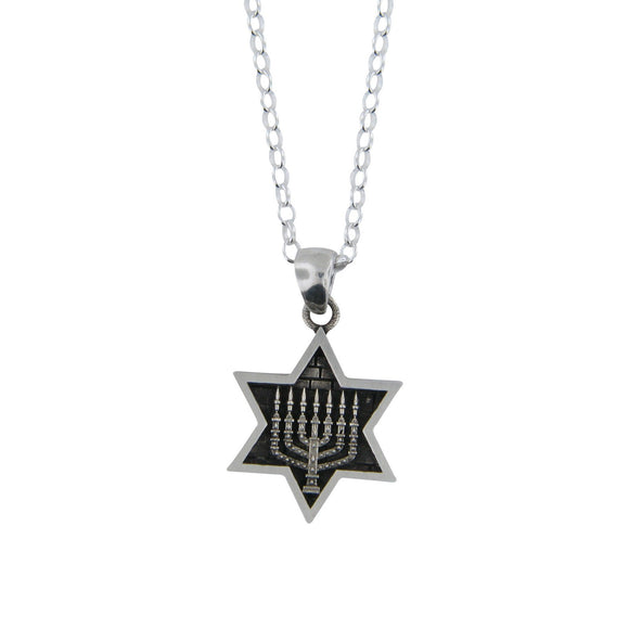 Star of David Menorah Pendant Necklace Silver on Rolo Chain Bar-Mitzvah Boys, Teens