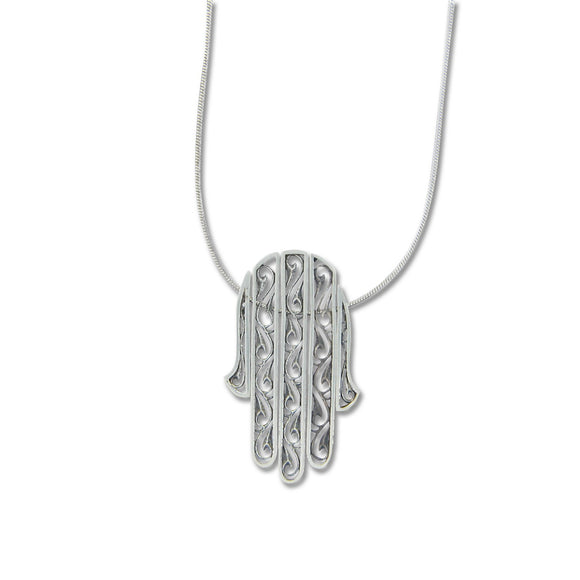 Hamsa Pendant Necklace Silver Snake Chain 1mm
