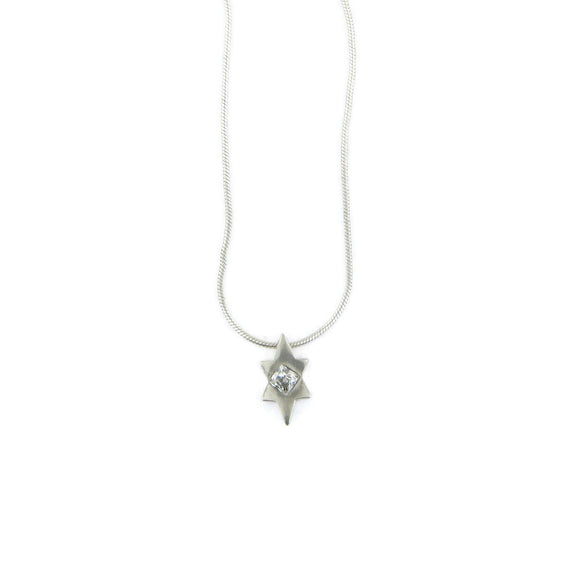 Star of David Pendant Necklace Silver Snake Chain 1mm