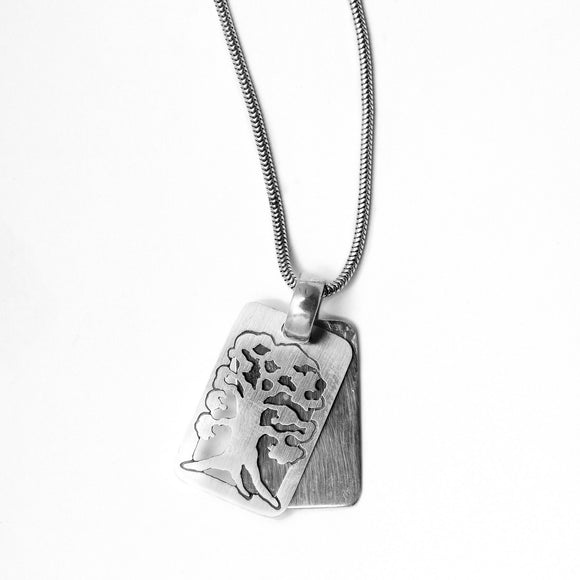 Tree of Life Rectangle Pendant Necklace Silver Snake Chain 1.6mm