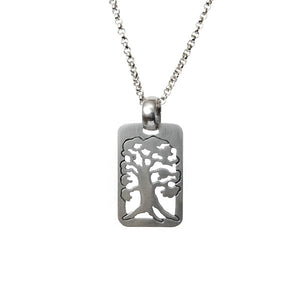 Tree of Life Rectangular Pendant Necklace Silver Rolo Chain