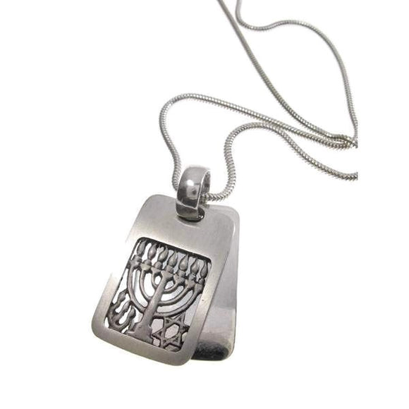 Rectangle Menorah Pendant Necklace Silver Snake Chain 1.6mm Men's