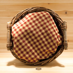 Homespun Cotton Fabric | Cranberry and Wheat Check