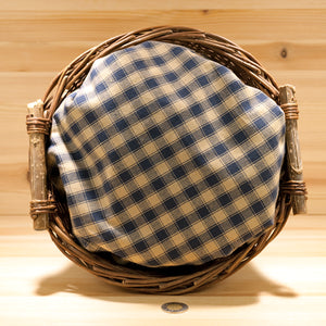 Homespun Cotton Fabric | Navy and Wheat Check