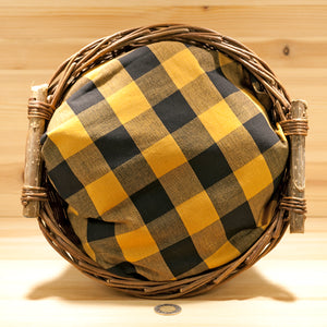 Homespun Cotton Fabric | Black and Deep Mustard Large Check