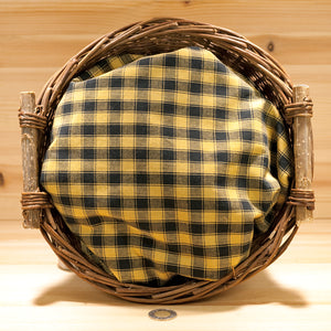 Homespun Cotton Fabric | Black & Wheat Check