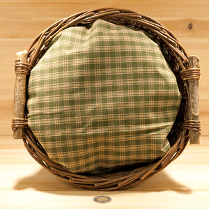 Homespun Cotton Fabric | Soft Green and Wheat Check