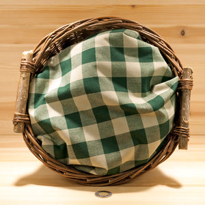 Homespun Cotton Fabric | Green and Oatmeal Large Check
