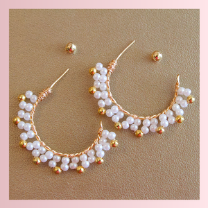 Honey Pearl Hoops