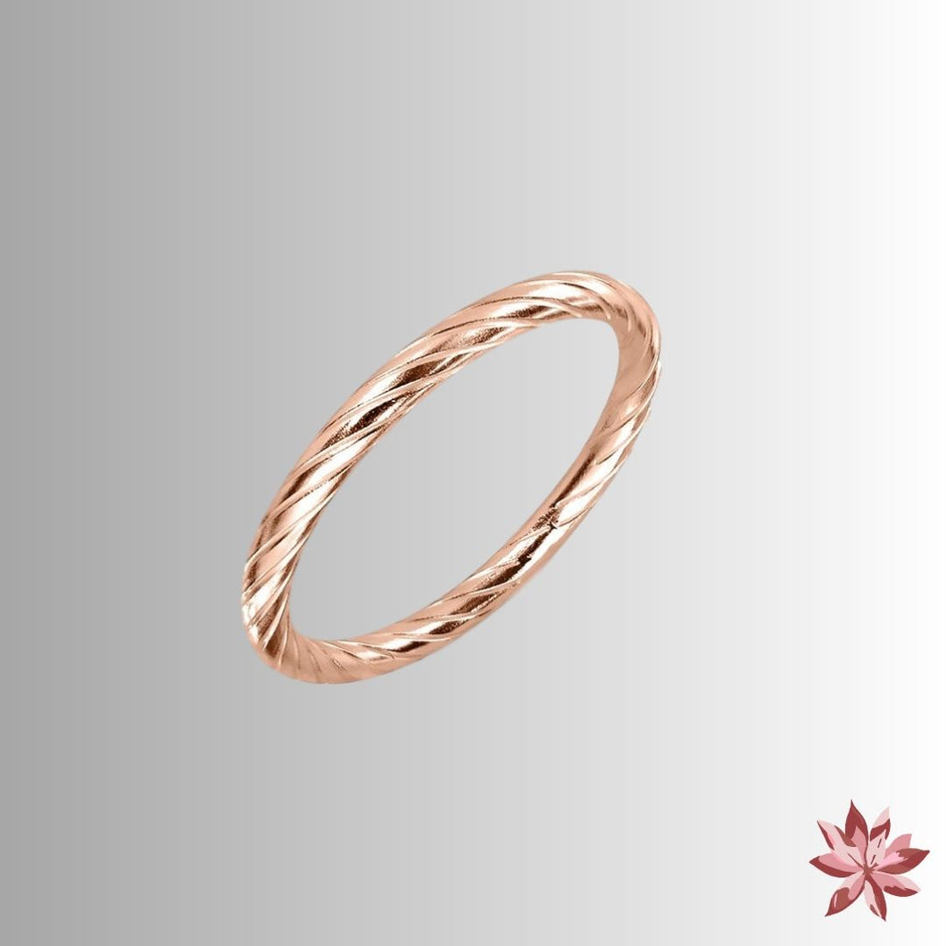 Rose Gold Rope Twisted Ring