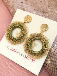 Peruvian Crochet Gold Star Earrings