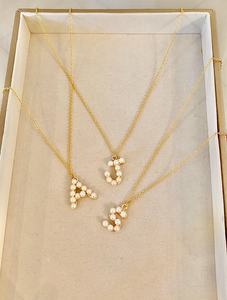 Initial Pendant Pearl Necklace