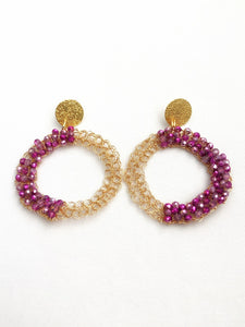 Purple Crochet Earrings
