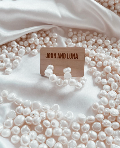 John and luna pearl hoops surrounded by fresh water pearls