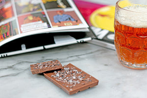 Bean to bar chocolate with beer and comic book