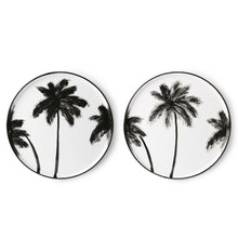 Load image into Gallery viewer, Porcelain dinner plate with palms, handmade finish, black & white