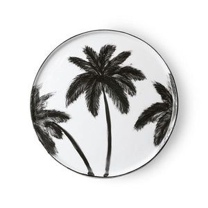 Porcelain dinner plate with palms, handmade finish, black & white