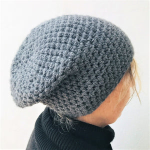 Beanie crochet hat, colour dark grey